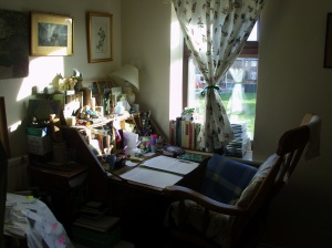 Desk and writing corner of author Gill Hoffs