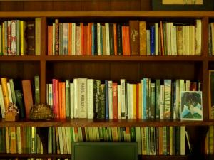 View of bookshelves in Jessie Cole's family study