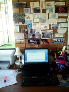 Writer Lauri Kubuitsile's desk and workspace