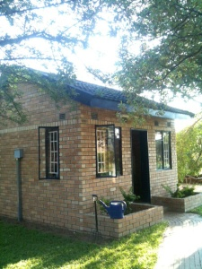 Exterior view of writer Lauri Kubuitsile's writing studio in Botswana