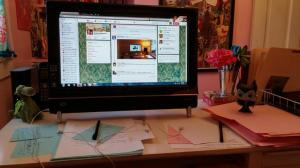 Writer Deanna Raybourn's desk and computer