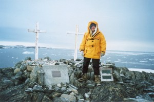 Hazel Edwards at Antarctica Casey Station memorial for previous expeditions