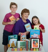 Some of Hazel's books and readers - photo by Mary Broome