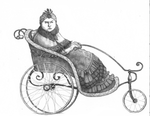 Illustration of a woman being drawn in a carriage