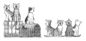 Illustration of 3 cats singing