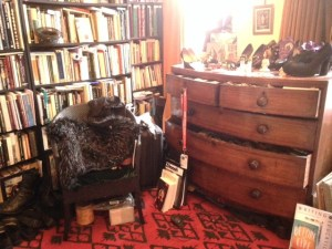 Books and chair in Rosie Garland's workspace