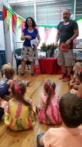 Sophie Masson and Paul McDonald talking to kids at Children's Bookshop