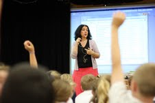 Writer Sophie Masson doing an author visit with school students