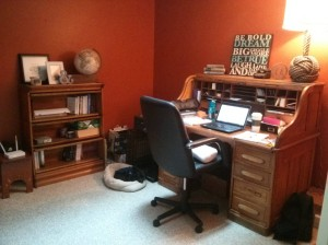 Aimee's desk and bookcase in her cozy office