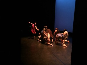 Dancers on stage in Tiny Fires with University Dance Theater of San Francisco State University