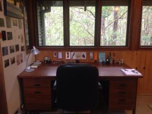 Writer Inga Simpson's desk overlooking woodland