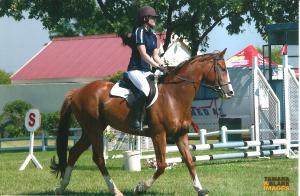 Writer Jassy Mackenzie on horseback
