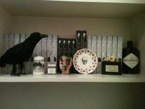 Shelf of Curiosities in Kate Mayfield's study