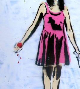 Drawing of a girl holding a bleeding heart