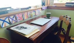 Desk and laptop of writer Julie Trimingham