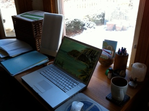 Writer Kathryn Erskine's desk and laptop