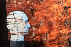 Rebecca Edwards Art - Burning Suitcase 2014