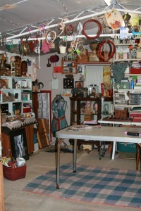 Writer Rebecca Edwards' art shed with tables and supplies