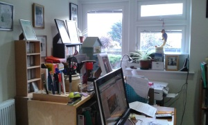 Writer Rose Collis's desk and computer