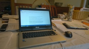 Writer Stasia Ward Kehoe's workspace in the kitchen