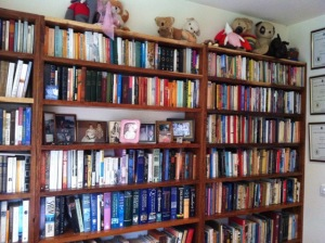 Wendy Orr's wooden bookshelves teeming with books