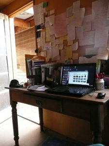 Ellie Marney's desk and computer