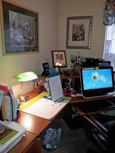 Writer Lupe Ruiz-Flores's desk and computer