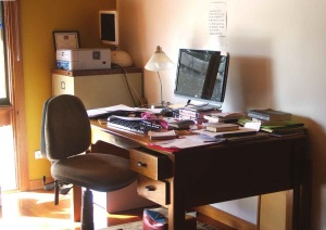Robyn Cadwallader's desk and computer in her study