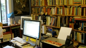 Computer and bookshelves in Anne Gracie's office