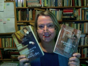 Anne with some of the Georgette Heyer books in her collection