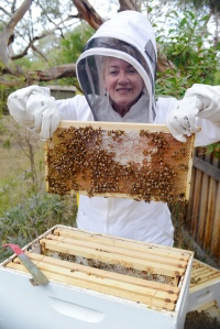 Felicity's beekeeping - photo by Leo Baker