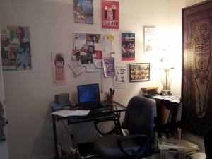 Small desk and paperwork in Nicolle's shared studio