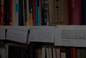 Yvette's bookcase with notes attached