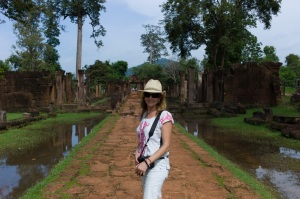 Julie visiting Pre Rup, Cambodia - the setting for Lust and Found