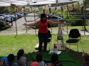Sue Whiting entertaining young fans in the Story Tent