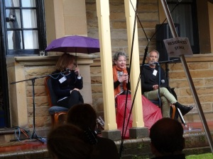 Jane Curry, Helen O'Dare and Rick Raftos at Writers in the Park 2015 - WordMothers edited by Nicole Melanson