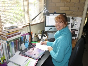 Writer Kim Cleary at work