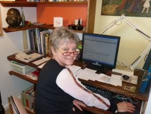 Virginia at her desk
