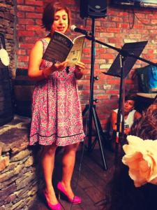 Sweta reading from Wet Silence