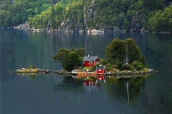 Little red house on an island