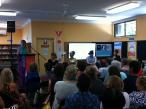 Women & Words - Mireille Juchau, Fiona Katauskas, Zoe Norton Lodge & Jenny Leong MP - photo by Nicole Melanson at WordMothers