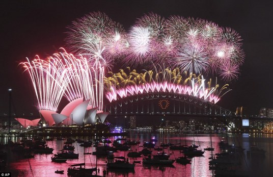 Sydney fireworks with Opera House and Harbour Bridge