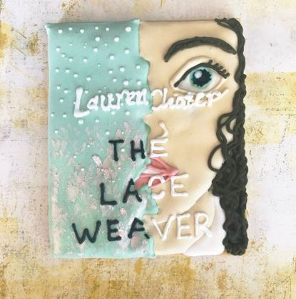 Cookie designed like the cover of The Lace Weaver by Lauren Chater