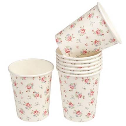 Vintage flower paper cups