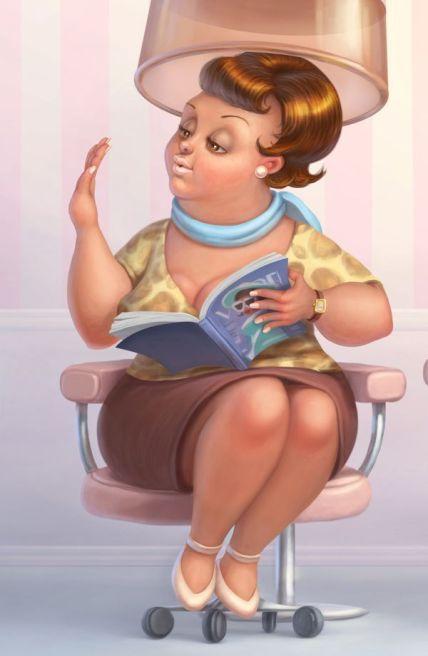 Woman reading book at salon