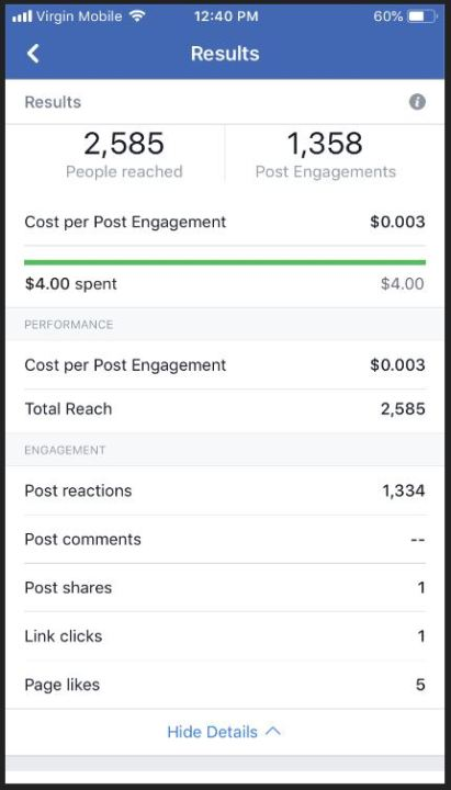 Facebook promotion results showing people reached, followers, and post engagement
