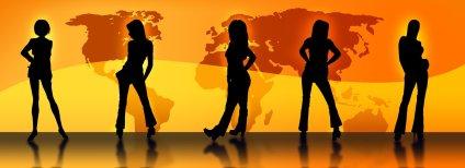 Five women in silhouette