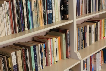 Nicole Melanson WordMothers Editor Writer Poet bookcase shelves of poetry