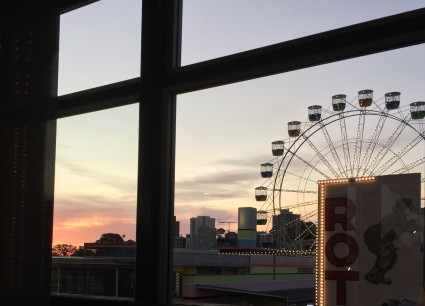 Luna Park Ferris Wheel seen through window