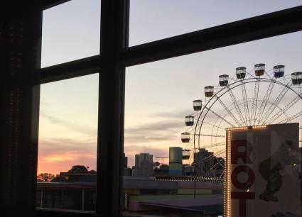 Luna Park Ferris Wheel seen through window